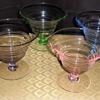 """Set of four colored desert glasses 4 1/2"""""""