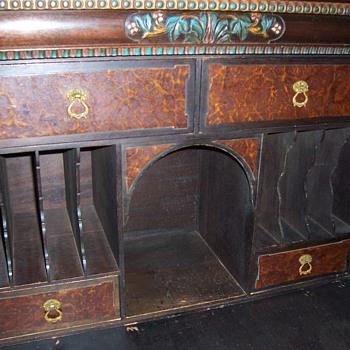"""1900-1910 """"Drop Down Front"""" - Wooden Carved Desk - Furniture"""