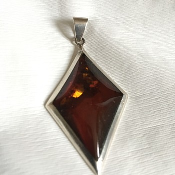 Vintage silver &amber  pendant  - Fine Jewelry