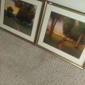 A pair of Stickley framed gouache tonalist landscape paintings - Fine Art