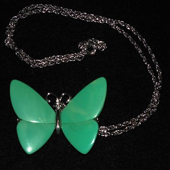 Trifari Turquoise Colored Butterfly Necklace with Silver Accents  - Costume Jewelry