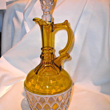 Aetna Glass Adonis Opalescent Pineapple Amber Claret and Stopper