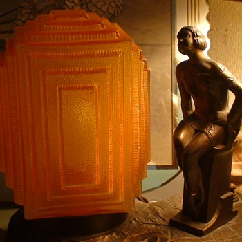 Art Deco Lamp Lady With Geometric Design Dress - Art Deco