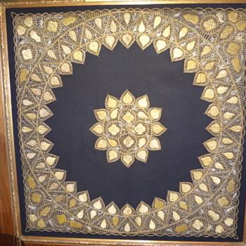 unique gold thread textile panel