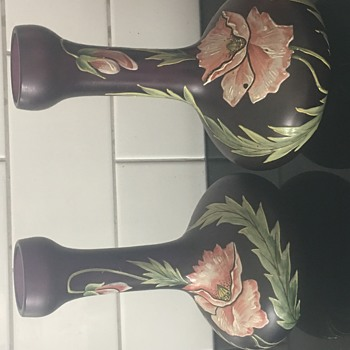 Matching pair of stem vases  - Art Glass