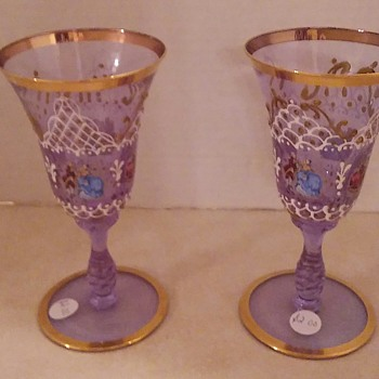 Beautiful Pair Of Venetian Glass Goblets  - Art Glass