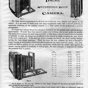 1888 Reference for Ideal Wood Field Camera (Rochester Optical Company)