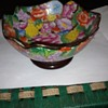 Millieflora  pattern modern version of a Cloissonne type bowl with wood stand, Chinese not something I'm usually into