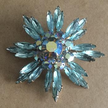 1940s Coro Jewelry .... — Aqua Necklace, Brooches, Earrings - Costume Jewelry