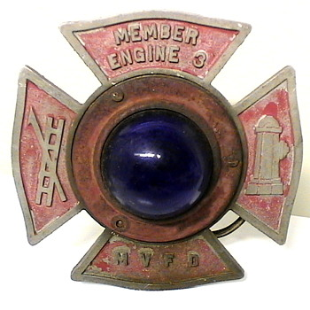 ANTIQUE VOLUNTEER FIRE DEPT MALTESE CROSS BUMPER BLUE LIGHT - Firefighting