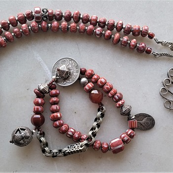 Upcyle of lovely old silver and glass beads. - Costume Jewelry