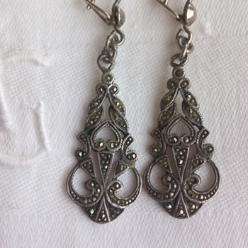 Transitional Art Deco Silver and marcasite earrings  - Fine Jewelry