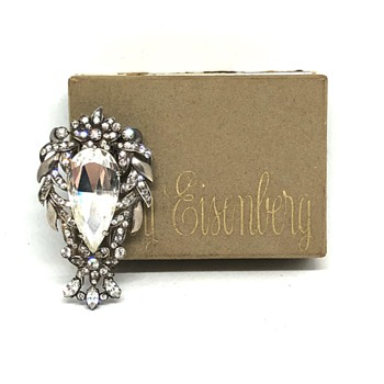 Eisenberg Original Sterling Silver Art Deco Rhinestone Fur Clip in Original Box - Art Deco