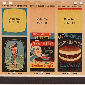 Salesman Sample Cardstock Pages for Matchcovers circa 1940 (?) Collection Jim Linderman Dull Tool Dim Bulb - Tobacciana