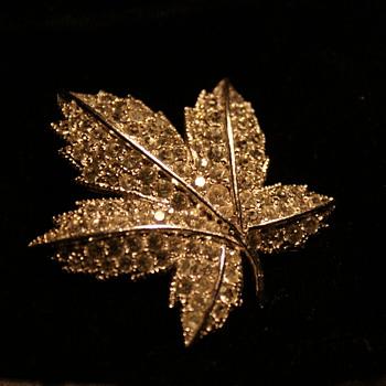 Keyes Rhinestone Leaf Pin - Costume Jewelry
