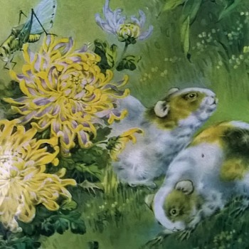 1950s (?) Print, Critters In The Garden Thrift Shop Find $2.00 - Fine Art