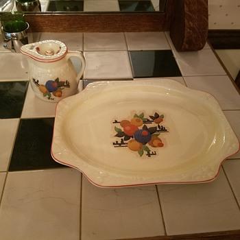pancake batter Bowl, platter, syrup holder - China and Dinnerware