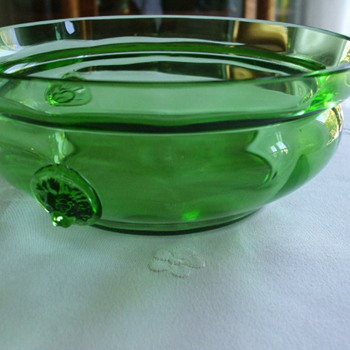 Elegant Glass Green Panelled Bowl with LION HEAD Prunts - Art Glass