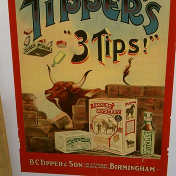 """Original 1910 Tipper's """"3 Tips"""" Stone Lithograph Poster"""