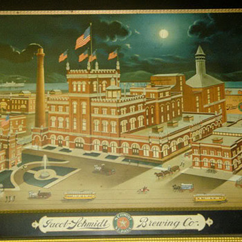 "Jacob Schmidt Brewing tin ""Night scene"" sign-Circa 1900 - Breweriana"