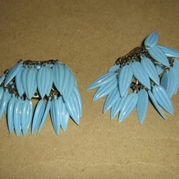 50's-60's plastic earclips - Costume Jewelry