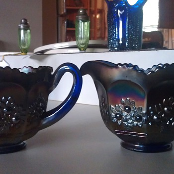 Fenton Orange Tree Blue Creamer and Sugar