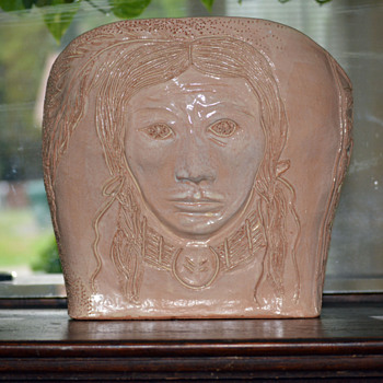 "Pottery-Indian Woman Face Depicted on the Front-""Part 1"" - Pottery"