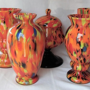 The Ruckl Interwar Era Glass Collection - the multi colored spatter pieces in orange - Art Glass