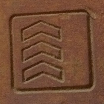 Padlock with 3 upward facing chevron/arrowheads with square around them - Tools and Hardware