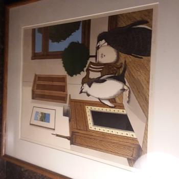 Framed, hand colored print by - Evan Sullivan, Lake Geneva wi - Fine Art