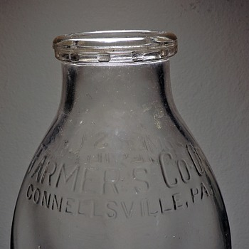 1951 Farmer's Dairy Co-Op Milk Bottle Connellsville Pennsylvania Embossed One Quart Vintage Lamb Glass Company - Bottles