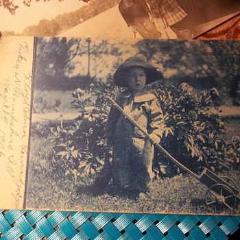 CUTE 2 YEAR OLD , 1906, OUT IN THE GARDEN WITH HIS LONG HANDLED CART - Photographs