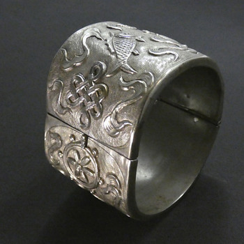 Antique Qing Dynasty Silver Cuff Bracelet featuring the Ashtamangala - Asian