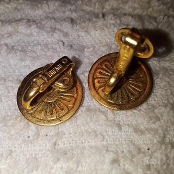 goldtone TRIFARI clip earring backs - Costume Jewelry