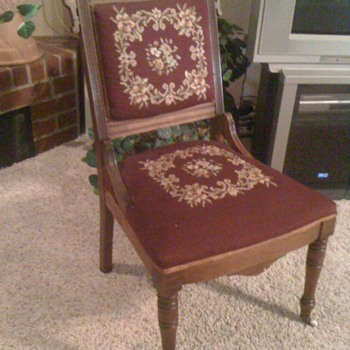 Victorian Needlepoint Chair with front roller casters - Victorian Era