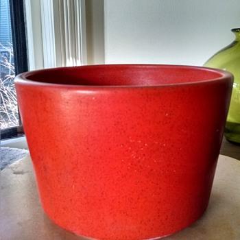 "Orange ""Modern Design"" Pottery Planter - Mid-Century Modern"