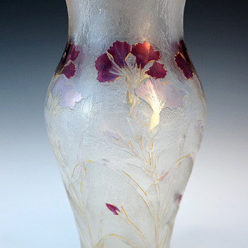 1900 Cristallerie de Pantin Acid Etched Cameo and Enameled Art Glass Vase - Art Nouveau
