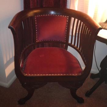 antique wooden barrel chair - Furniture