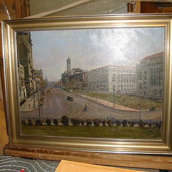 WPA 1935 Painting: 'View from south plaza of Treasury, looking north' by Dorsey Doniphan  - Fine Art