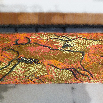 1960s Vintage Shag Pile Rug - Bison Buffalo Cave Painting  - Rugs and Textiles