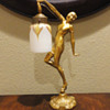 Art Deco Lamp with rare Art Glass Shade.