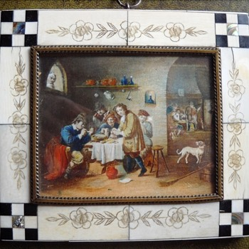Miniature on ivory, tavern scene - Fine Art