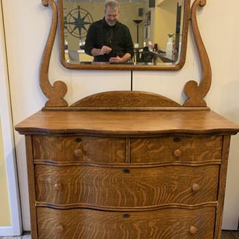 Antique Curved Wood Dresser - Furniture