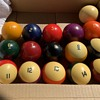 Vintage Box of Billiard balls (Pool Balls)  Unknow Mfg. or Era Any help Appreciated