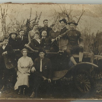 Old Family Photograph - Early Car & WWI Soldier - Photographs