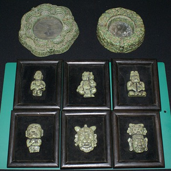 Mexican Art Wall  Stone Plaques with Looks like Candle Holder and Ash Tray - Folk Art