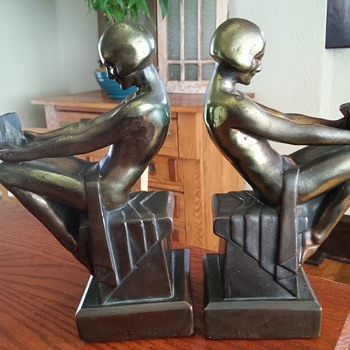 Armor bronze Co./ S.C. Tarrant Co. Art deco Bookends - Art Deco