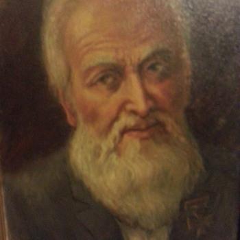 Old man with grey beard wearing German cross medal - Fine Art