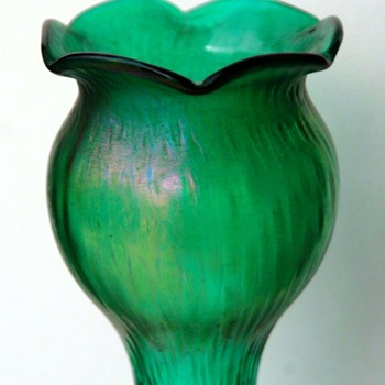 Tall Pair of Teal/Clear Rindskopf Martele Hyacinth Vases - Art Glass