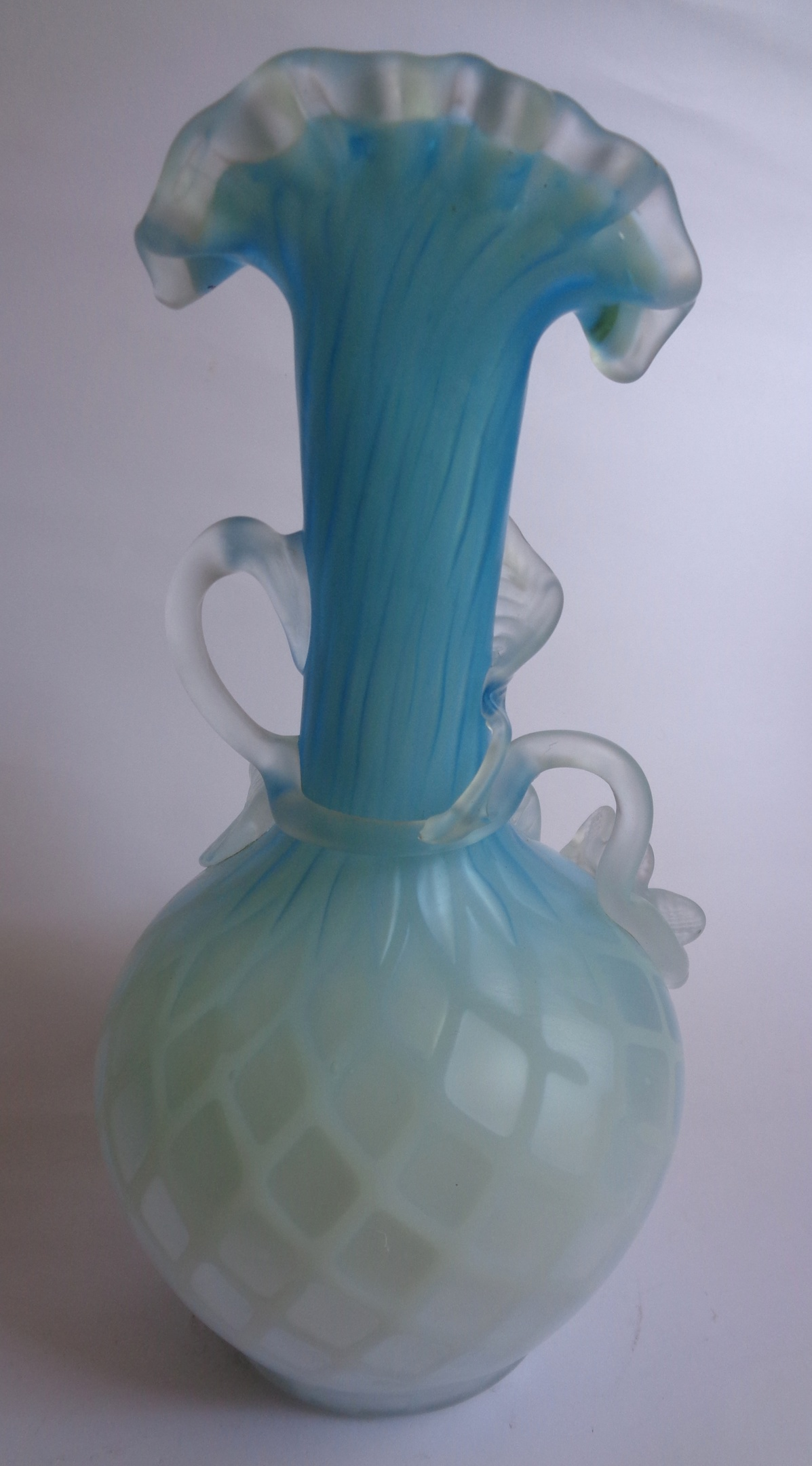 Victorian diamond quilted satin gl vase with applied flowers ... on